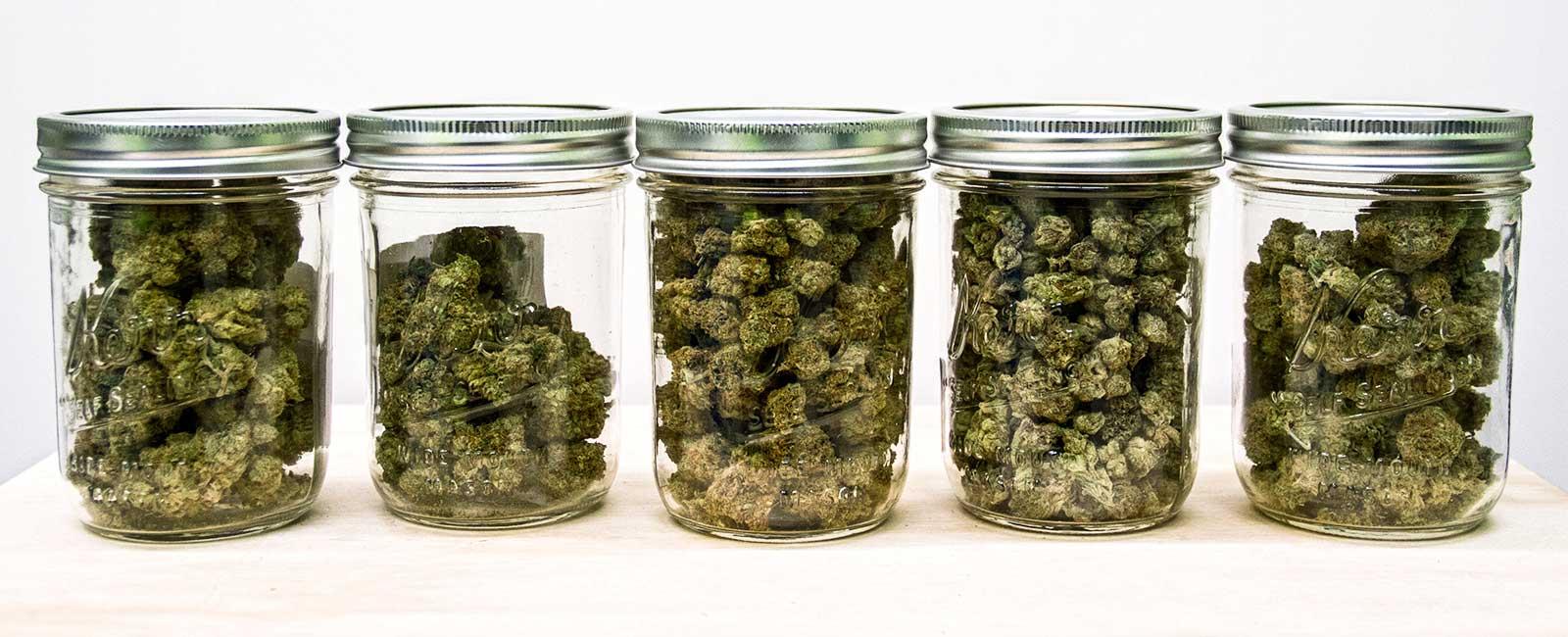 marihuana curado en botes de cristal
